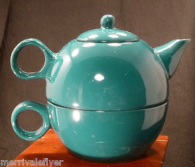 Vintage Miniature OLD AMSTERDAM Teapot for One! Built In TEA Cup RARE TEAL Green