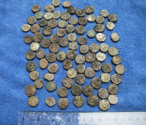 HUGE LOT: 87 Assorted MEDIEVAL INDIAN Small Jital Coins-Some Silver Billion-NR