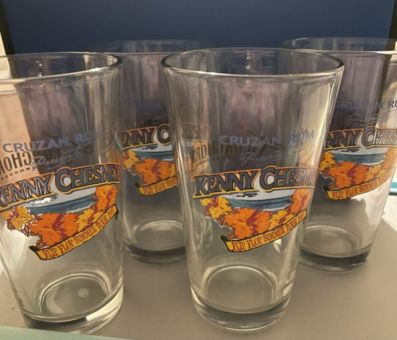 "Kenny Chesney's Cruzan Rum ""Flip Flop Summer Tour"" Pint Glasses - Set Of 4"