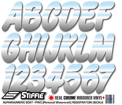 STIFFIE Whip-One WO18 CHROME Identification Boat Decals Registration Numbers