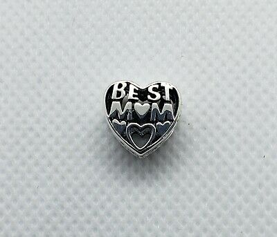 New Authentic PANDORA Heart Best Mom Sterling Silver Charm