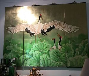 I beautiful four panel tableau of cranes Canberra Region Preview