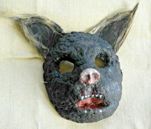 Vintage bat FACE MASK scary carnival papier mache  wall decor artist made