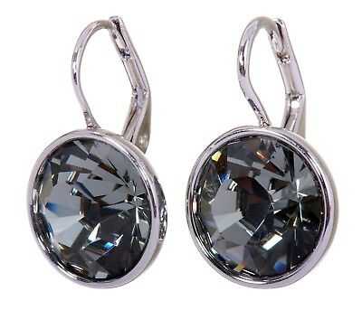 (Swarovski Elements Crystal Black Diamond Bella Pierced Earrings Rhodium 7171b)