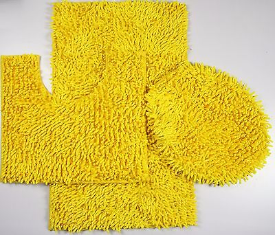 (3Piece Mixed Shiny Chenille Bath Mats Set Made with super soft Microfiber)
