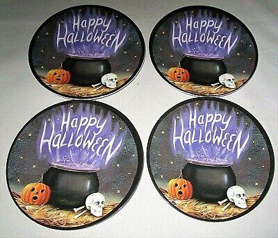 "Halloween Melamine Tidbit Candy Side Plates 6"" HAPPY HALLOWEEN / CAULDRON"
