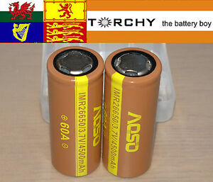 2x 60A Aoso 4500mAh Flat Top IMR 26650 3.7v Li-ion batteries