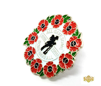 Red Green Poppy Lapel Pin Badge Soldier Never Forget All Gave Some Enamel 35mm