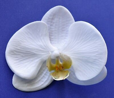 "5"" Elegant White Orchid Silk Flower Hair Clip Luau Wedding Cruise Tropical"