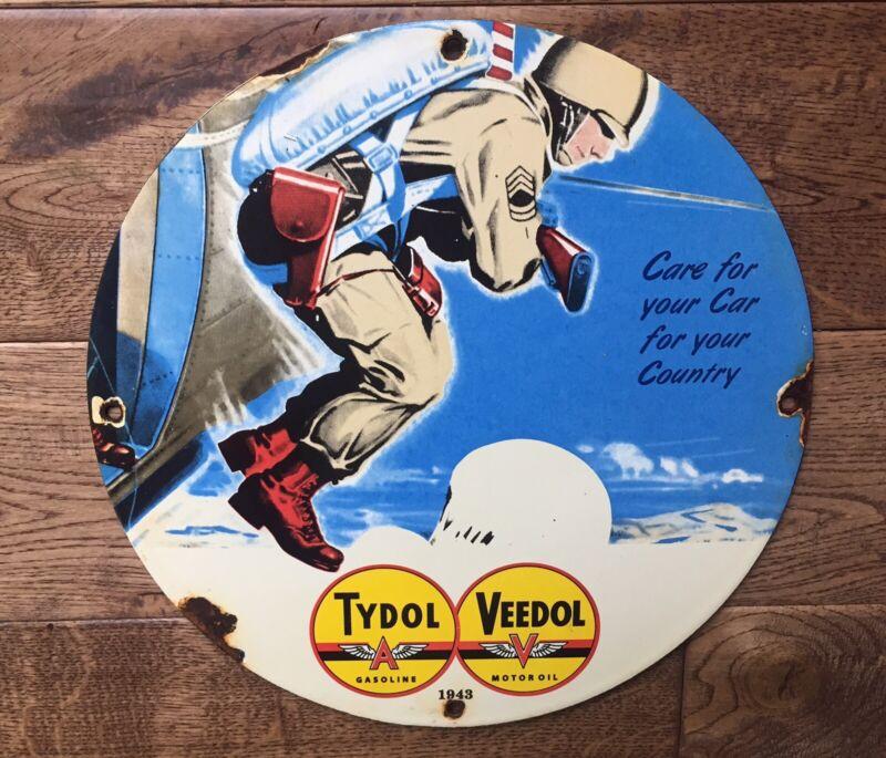 "Tydol Veedol Gasoline Motor Oil Heavy Porcelain Sign 12"""