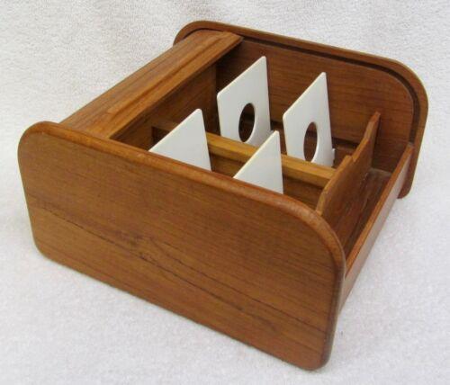 Vtg KALMAR DESIGNS Teak Wood ROLL TOP DUAL STORAGE BOX Floppy Disk RECIPE FILE