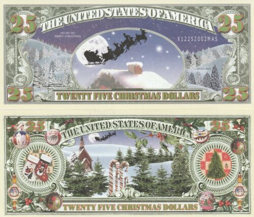 Twenty Five Christmas Dollars Bill Play Funny Money Novelty Note +FREE SLEEVE