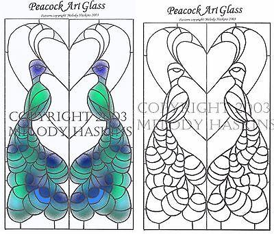 PEACOCK STAINED GLASS PATTERN - WINDOW PATTERN PEACOCKS and HEART COPPER FOIL Peacock Stained Glass Pattern