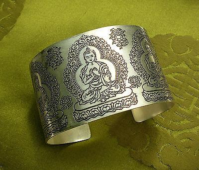 Wunderschöner breiter SILBER Armreif aus Nepal mit Buddha und Lotus FILIGRAN