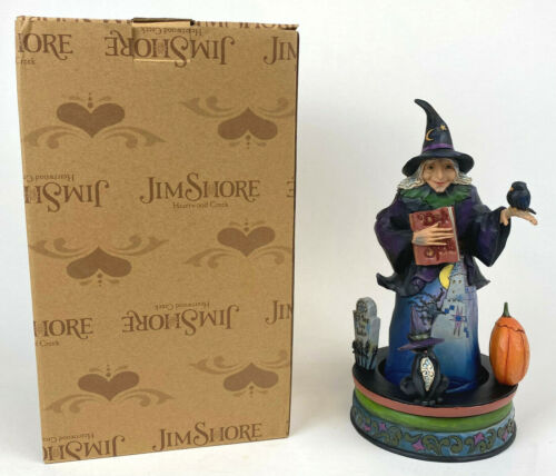 JIM SHORE 2016 Spinning GHOSTLY GHASTLY GREETINGS Halloween Witch w/ Spell Book
