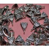 JEWELRY MAKING SUPPLIES BULK LOT OF 50 PENDANT BAILS-SILVER TONE METAL-FINDINGS