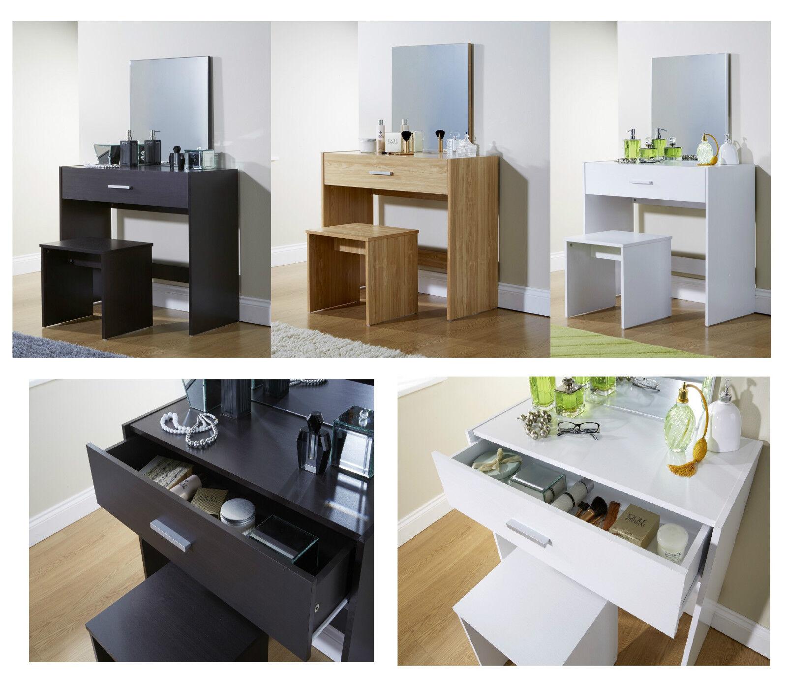 Julia Vanity Dressing Table Mirror U0026 Stool Oak White Espresso Dresser Desk