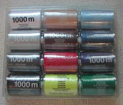 12 x 1000m reels 100% Polyester multipurpose thread - mixed colours as shown