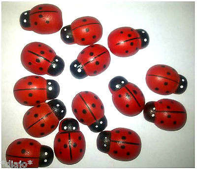 10 Marienkäfer aus Holz zum Dekorieren Basteln Scrapbooking 13 mm x 9 mm Käfer