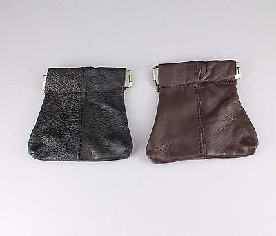 Brown or Black leather squeeze top coin purse bag pouch 2.5