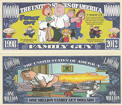 Family Guy Million Dollar Bill Fake Play Funny Money Novelty Note + FREE - Family Dollar Party Supplies
