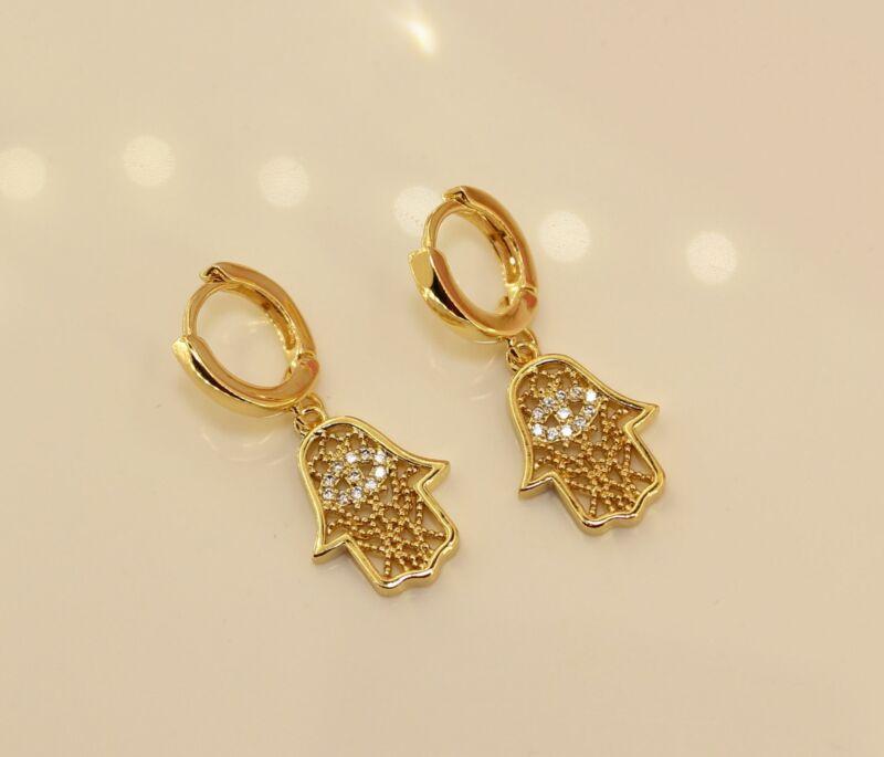 18k Gold Plated Hamsa Hand Hoop Earrings