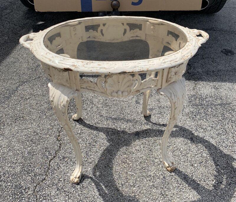 "Antique Cast Iron Glass Top Table Floral Design Victorian 20""H"