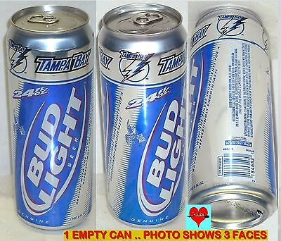 24Oz 2008 Tampa Bay Lightning Nhl Ice Hockey Bud Light Sport Beer Can Florida Fl