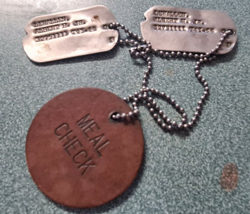(2) WWII Dog TagsT43-44 & T44-45 Notched, Chain & Meal Check