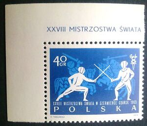 POLAND STAMPS MNH Fi1258A Sc1147 Mi1406B - Fencing Championship, 1963, clean - <span itemprop=availableAtOrFrom>Reda, Polska</span> - POLAND STAMPS MNH Fi1258A Sc1147 Mi1406B - Fencing Championship, 1963, clean - Reda, Polska