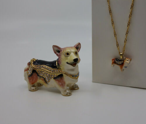 * WOW! CORGI DOG BEJEWELED TRINKET BOX WITH MATCHING NECKLACE *