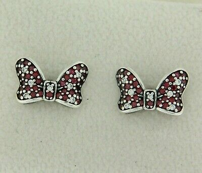 Authentic Pandora 290578CZR Disney Minnie Sparkling Bow Earrings Sterling Silver