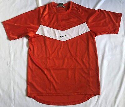 Vintage Nike Mens Medium Orange White Striped Soccer Jersey Scoop Shirt Orange Striped Soccer Jersey