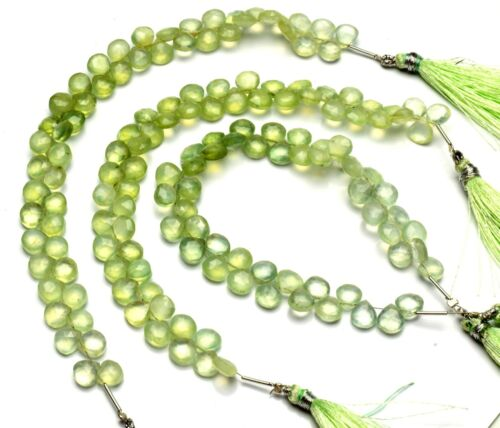 """Natural Gem Prehnite 7.5MM Approx Size Faceted Heart Shape Beads Strand 9"""""""