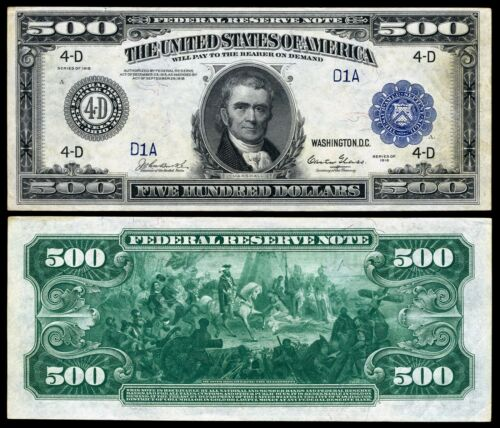 Reproduction US $500 Dollar Bill, Series 1918 Large size with BLUE seal