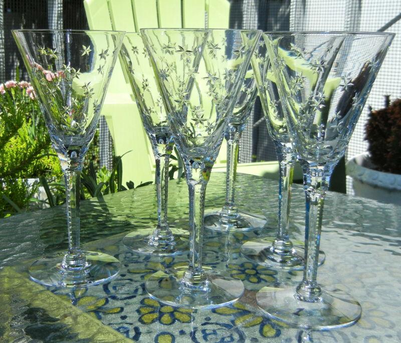 Antique Vintage Cut Crystal Wine Glasses Stars Lot of 6 (#1)