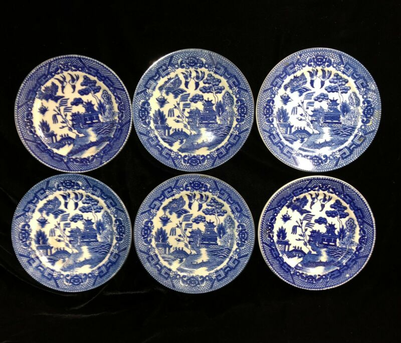 Vintage 6 Piece Blue Willow Japan Bread and Butter Plates