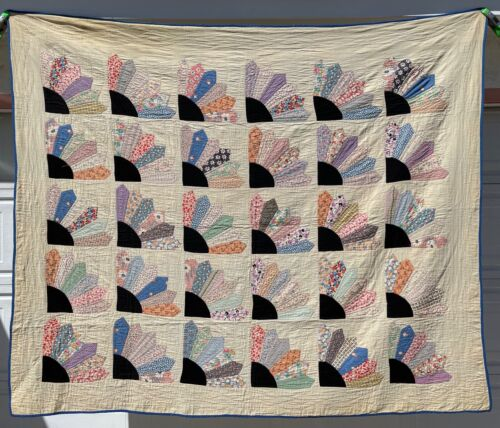 "Vintage Grandmothers Fan Quilt 85"" x 72"""