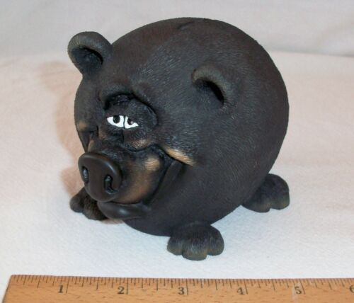 WHIMSICAL BLACK BEAR PIGGY BANK WITH REMOVABLE RUBBER STOPPER ON BOTTOM