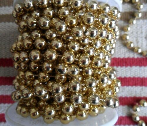 """Vintage 90s French Gold Beads on String Christmas GARLAND on Roll, 9 Yards + 17"""""""