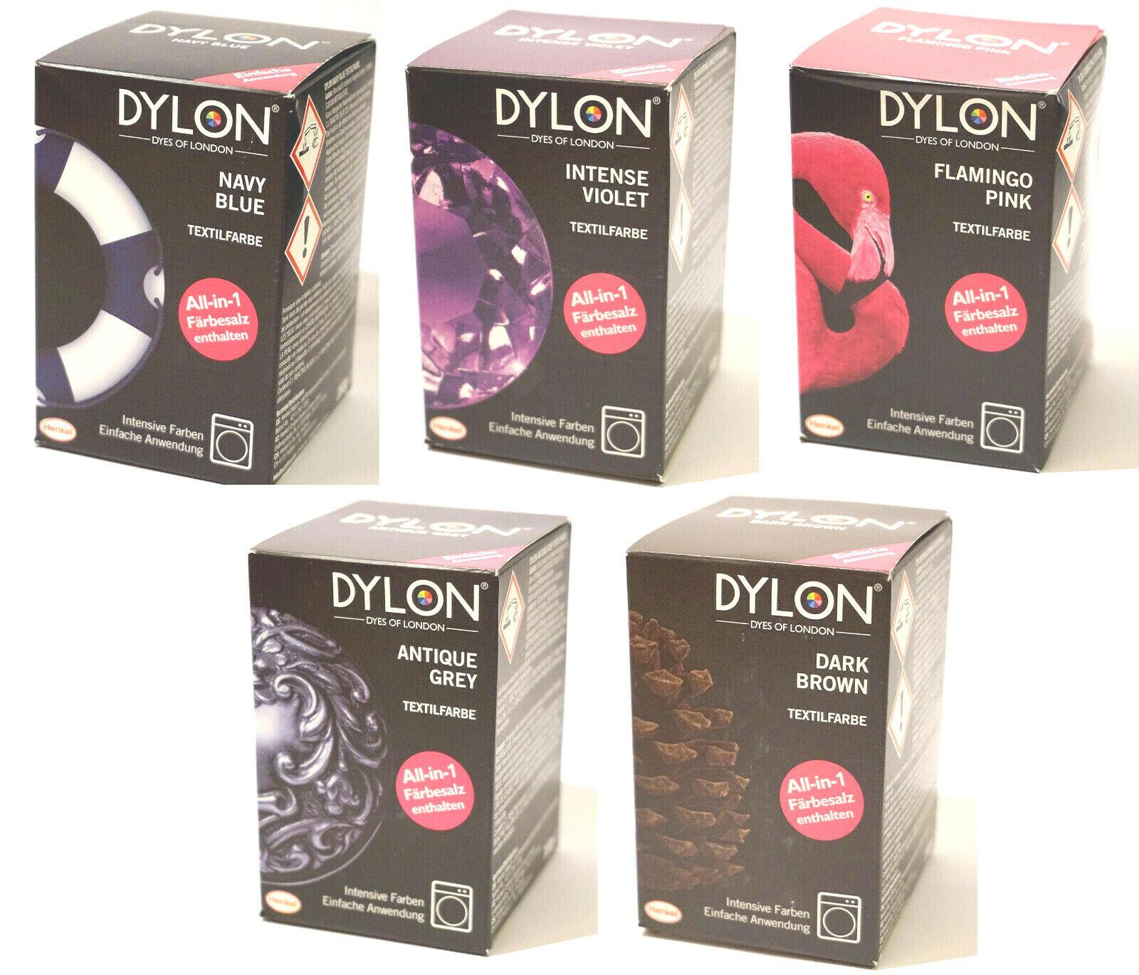 DYLON Textilfarbe Allin1 mit Färbesalz NEUWARE Pink Blue Brown Grey Violet DIY