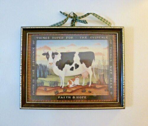 """FARM SCENE COW & CAT """"FAITH & HOPE"""" FRAMED PRINT"""