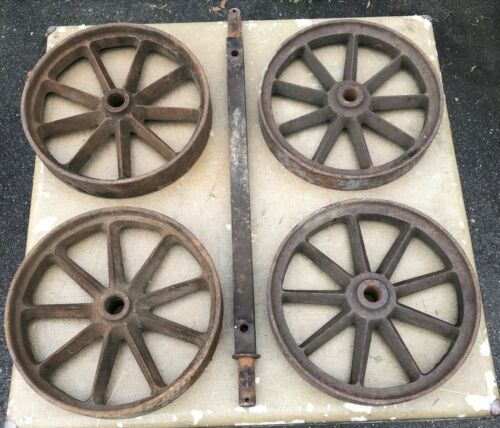 4 BARN FRESH ANTIQUE CAST IRON SPOKED INDUSTRIAL WHEELS+1 AXLE-HIT AND MISS CART