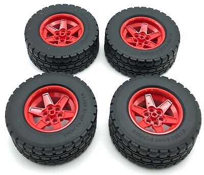 Lego 4 New Red Truck Wheel 56mm D x 34mm Technic Racing Black Tire 94.3 x 38 Car