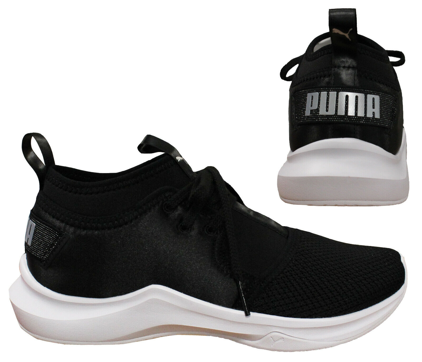 Details about Puma Phenom Low Satin En Pointe Womens Trainers Black Lace Pull On 190969 01 B2A