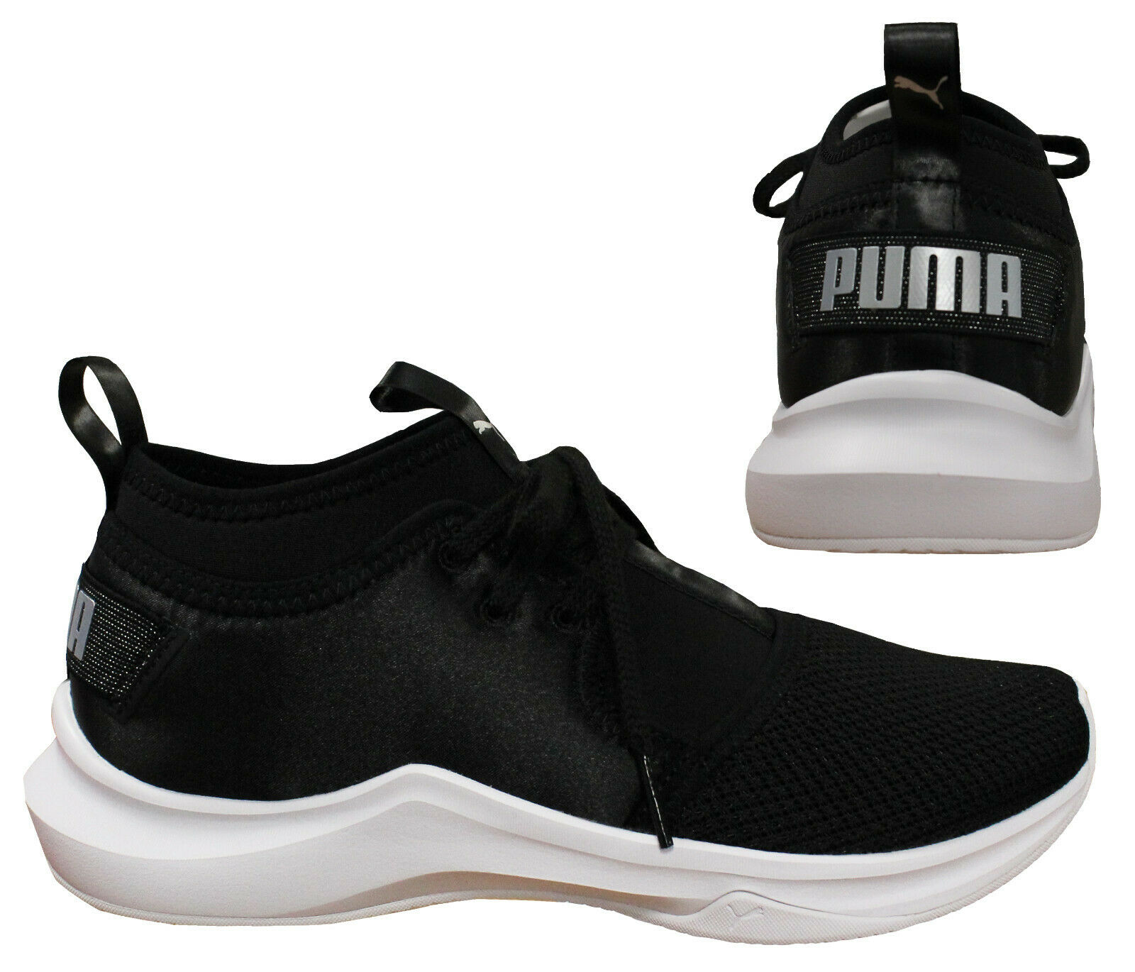 Puma Phenom Bas Satin En Pointe pour femme Baskets Dentelle Noir À Enfiler 190969 01 B2A | eBay