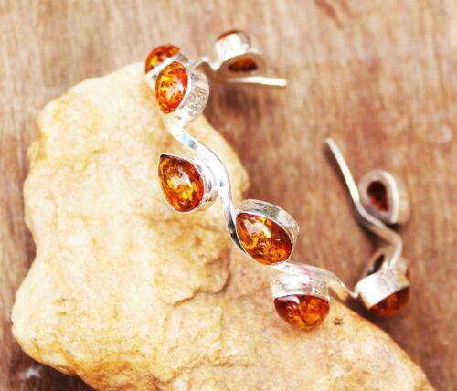 Lovely Baltic Amber Gemstone Handmade 925 Sterling Silver Jewelry Bangle Sz 7-8