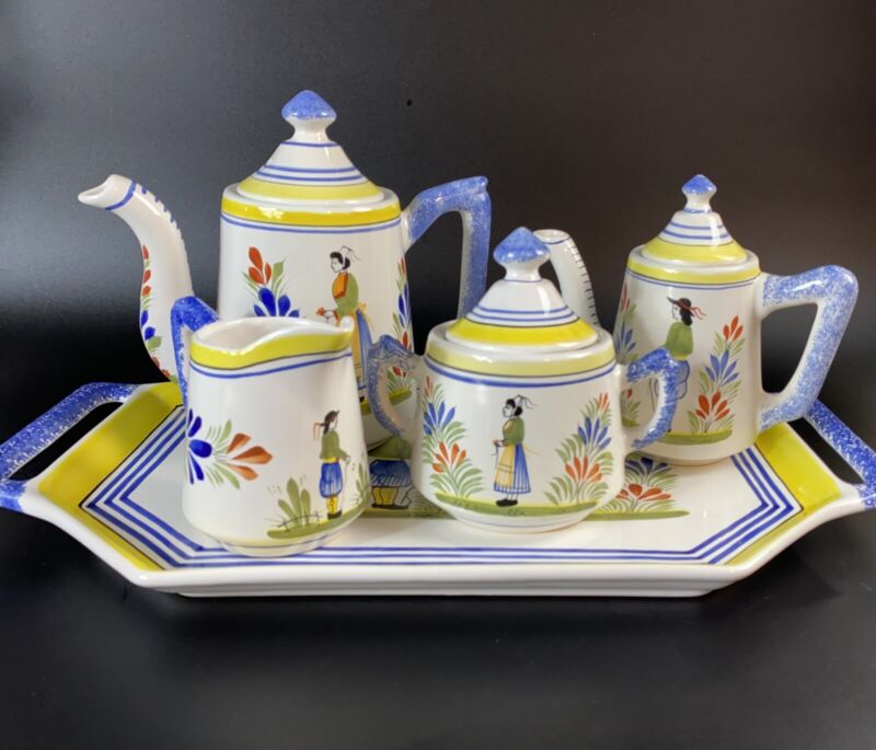 Henriot Quimper Faience France Coffee/Tea Complete Set - Handpainted