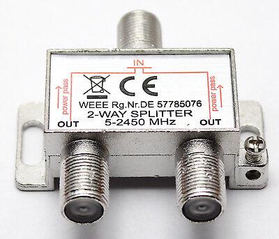 SAT BK Verteiler Splitter 2fach 2Way 52450 MHz