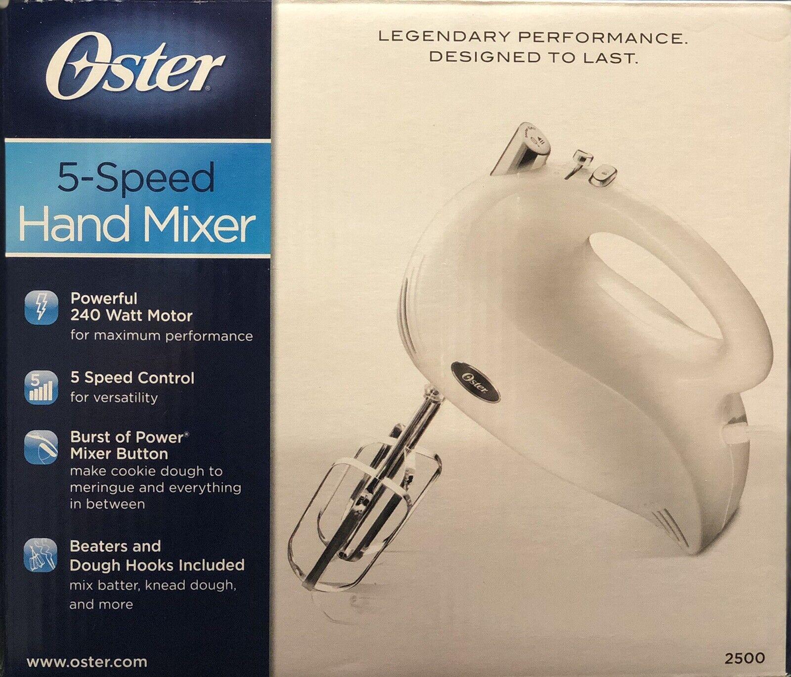 Oster 240-Watt 5-Speed Hand Mixer. Beaters and Dough Hooks,